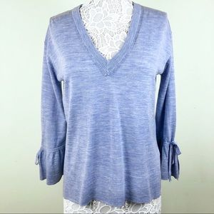 J. Crew Merino V Neck with Drawstring Sleeve
